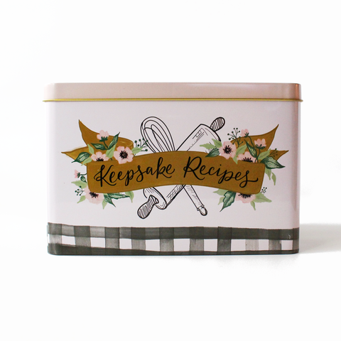 Lily & Val - Keepsake Recipe Tin - Farmhouse Gingham - Living Roots Decor