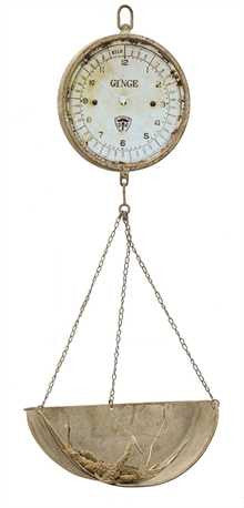 Vintage Reproduction Metal Hanging Produce Scale Clock - Living Roots Decor