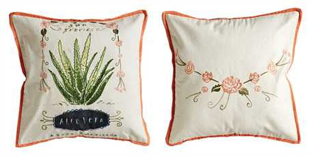 "Square Cotton Pillow w/ Cactus ""Aloe Vera"" Print & Embroidery - Living Roots Decor"