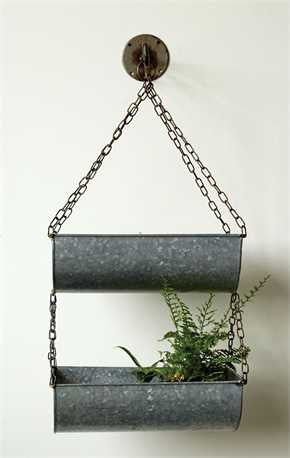 Metal Hanging Buckets With Zinc Finish - Living Roots Decor