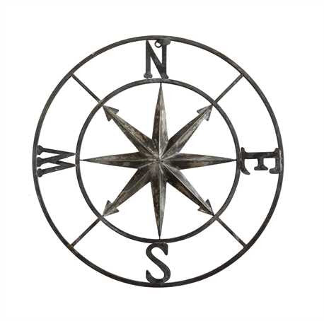 Round Metal Wall Compass - Living Roots Decor
