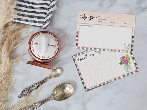 Lily and Val - Farmhouse Gingham Recipe Card Pack - Living Roots Decor