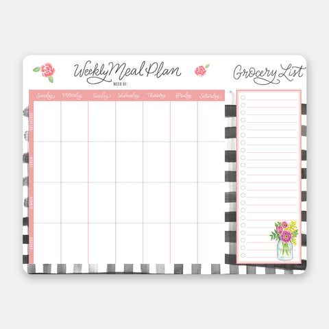 Lily and Val - Farmhouse Gingham Meal Planner Pad & Grocery List - Living Roots Decor