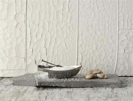 Zinc Boat with Paddle Shaped Spoon Salt Cellar - Living Roots Decor