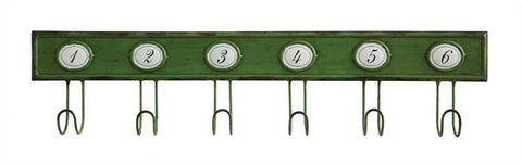 Green metal wall hanger with 6 hooks and 6 numbers - Living Roots Decor
