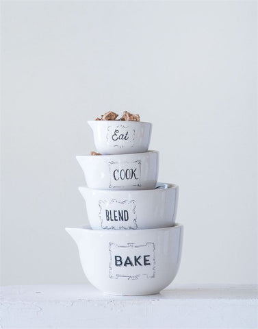 Black and White Measuring Cup Set - Living Roots Decor