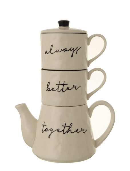 """Always Better Together"" Stackable Teapot Set - Living Roots Decor"