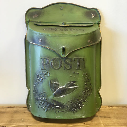 distressed green metal post box living roots home decor