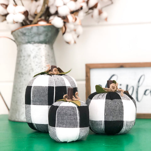 Black and White Buffalo Check Fabric Pumpkin - Living Roots Decor