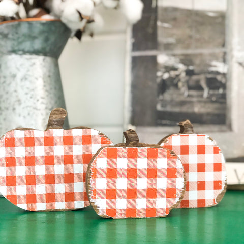 Set of 3 Orange and White Check Wood Pumpkins