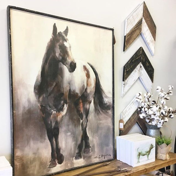 Wood Framed Horse Canvas