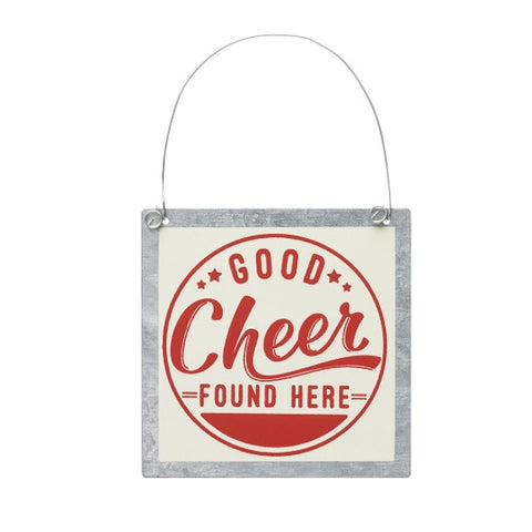 """Good Cheer"" Tin Ornament - Living Roots Decor"