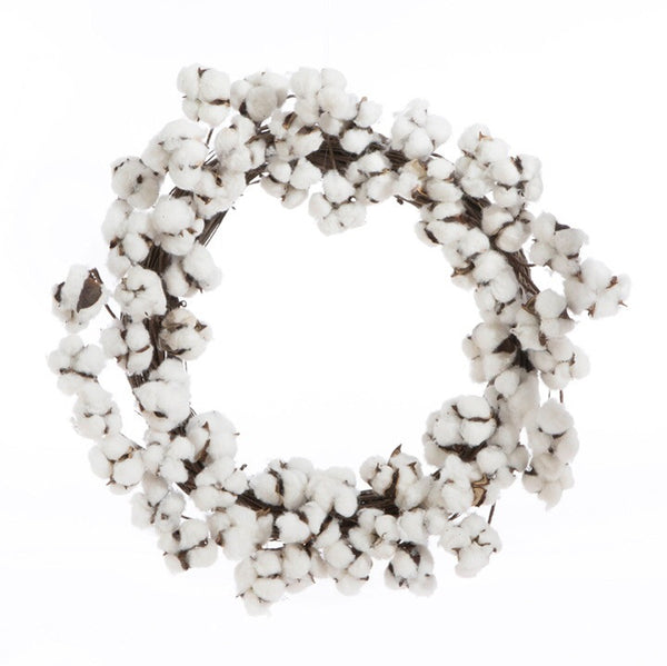 "26"". Cotton Boll Wreath - Living Roots Decor"