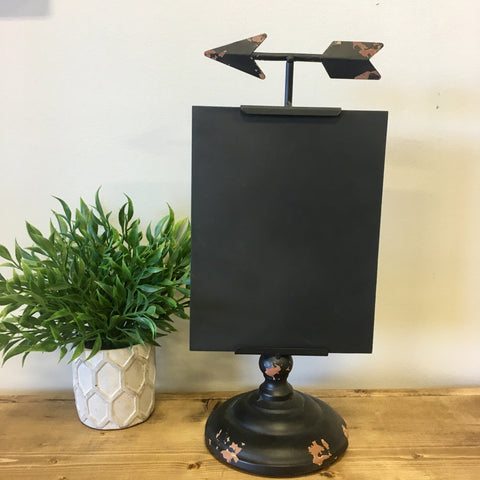 black chalk board stand with arrow accent living roots home decor