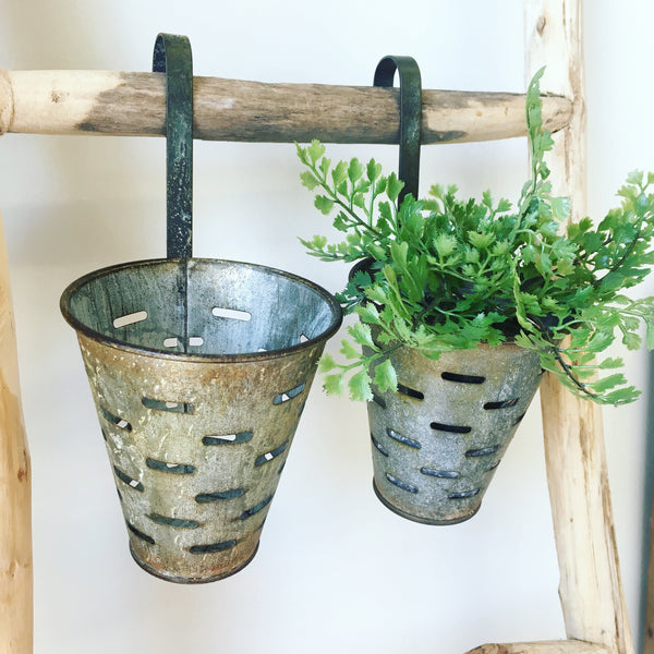 Round Metal Olive Bucket with Hook