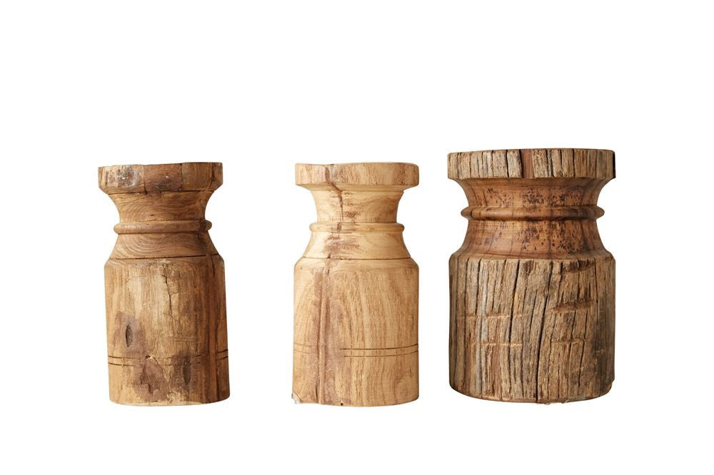 "8"" Found Wood Carved Candle Stick - Living Roots Decor"