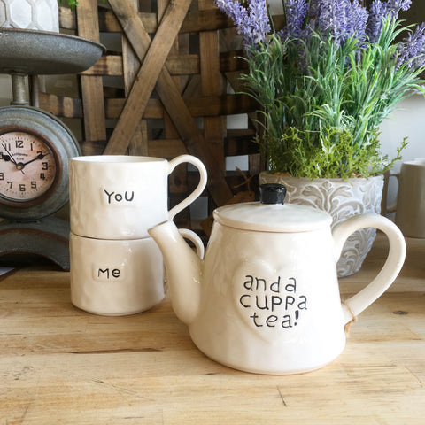 Stackable Stoneware Teapot& Mugs - Living Roots Decor