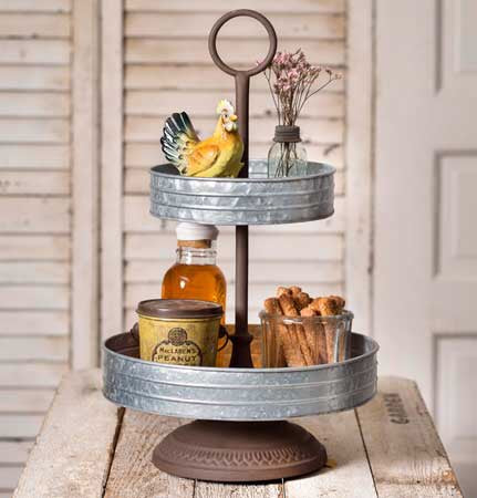 2 Tier Galvanized Tray - Living Roots Decor