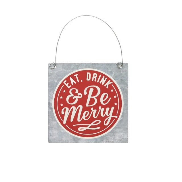 """Be Merry"" Tin Ornament - Living Roots Decor"