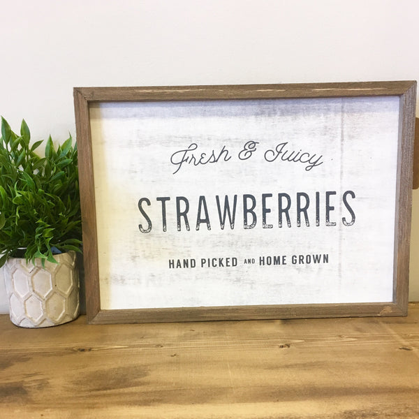 fresh strawberries barnwood sign living roots home decor