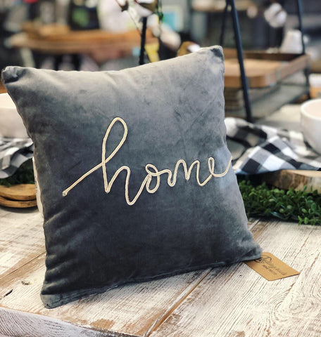 "Velvet ""Home"" Pillow"