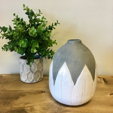 terra cotta hand painted gray snd white vase living roots home decor