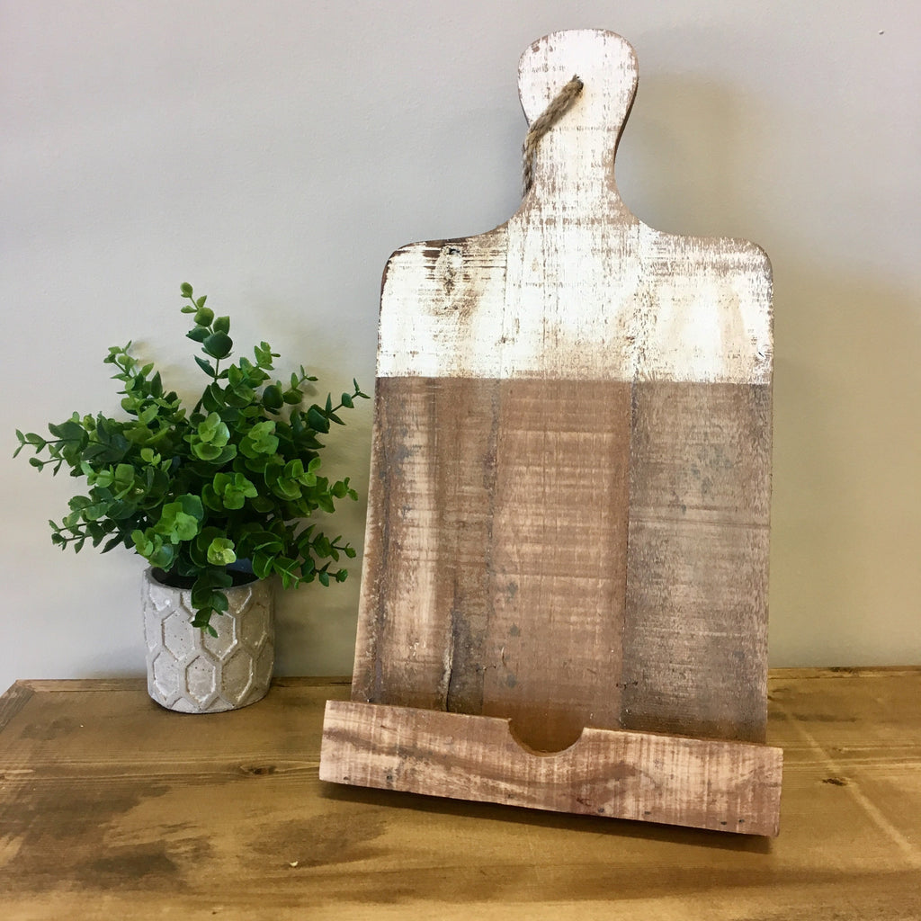 white dipped wooden tablet holder. living roots home decor