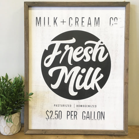Fresh Milk Barn Box Sign - Living Roots Decor