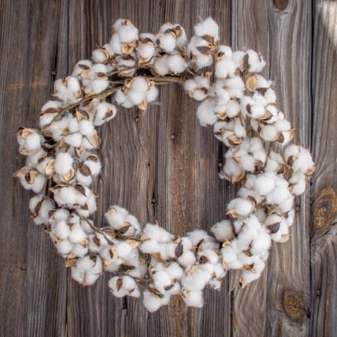 Cotton boll wreath farmhouse style Living Roots Home Decor