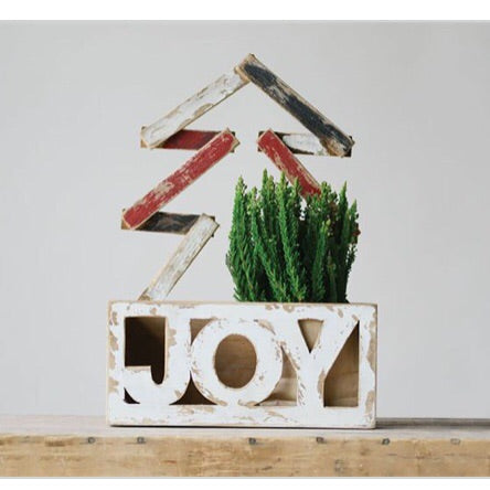 "Wood ""Joy"" Container - Living Roots Decor"