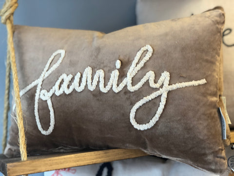 "Velvet ""Family"" Pillow"