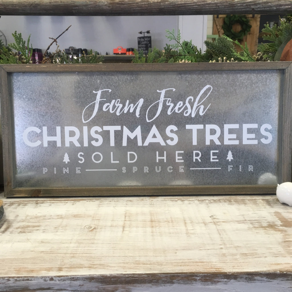 """Fresh Trees"" Barn Wood Sign - Living Roots Decor"