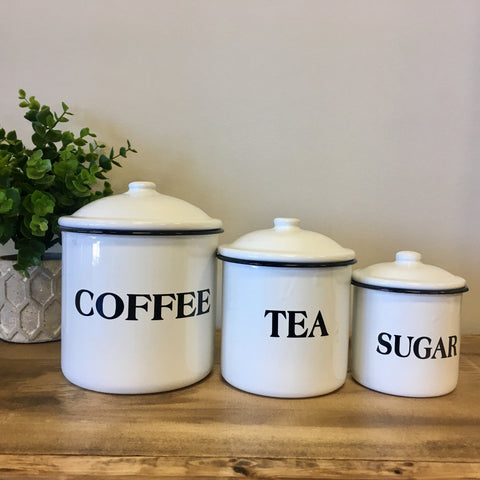 white tin enameled coffee tea and sugar canister set