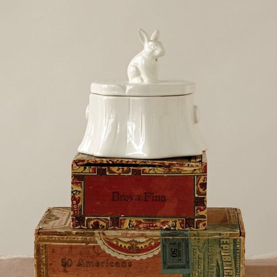 Stoneware Box with Rabbit Finial - Living Roots Decor