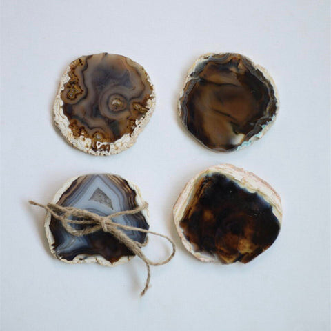 agate coasters, brown, home decor