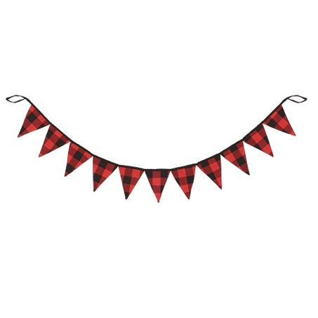 Red and Black Check Pennant Garland - Living Roots Decor