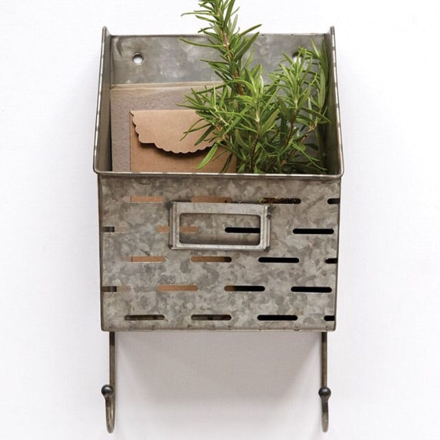Metal Olive Wall Baskets with Hooks - Living Roots Decor