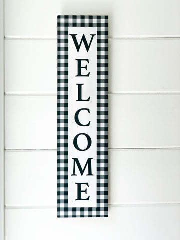 "Black and White Buffalo Check ""Welcome"" Sign - Living Roots Decor"