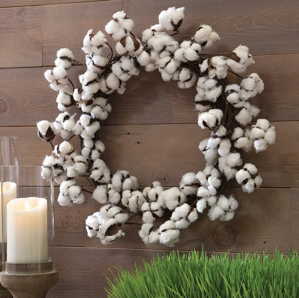 "24"" Cotton Boll Wreath - Living Roots Decor"