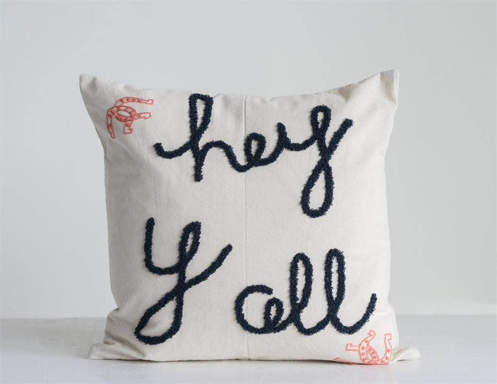 Hey Y'all Embroidered Pillow - Living Roots Decor