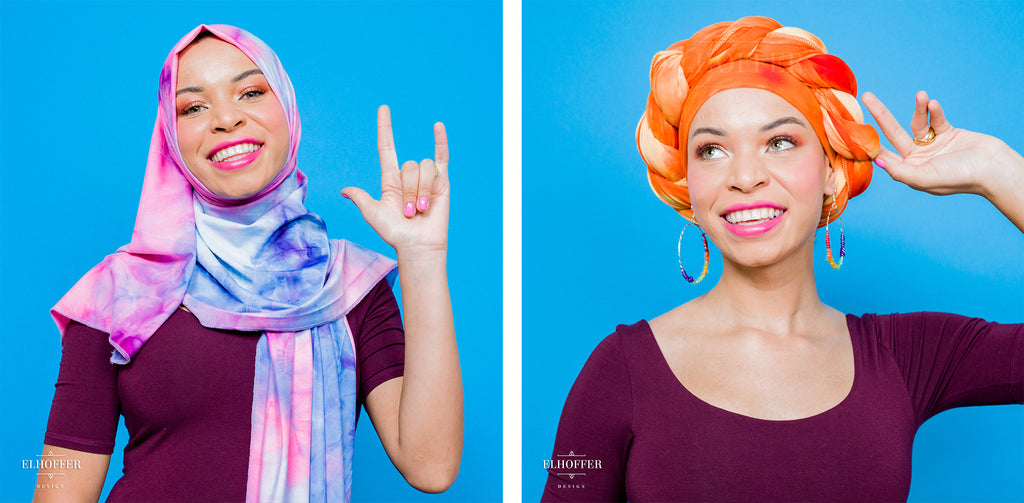 On the left, Blair (a medium skinned hijabi model) wears the pink, blue, and white tie dyed scarf as a hijab, covering her hair and neck. On the right, she wears the light and dark orange tie dyed scarf as a head wrap with a twist across the top.