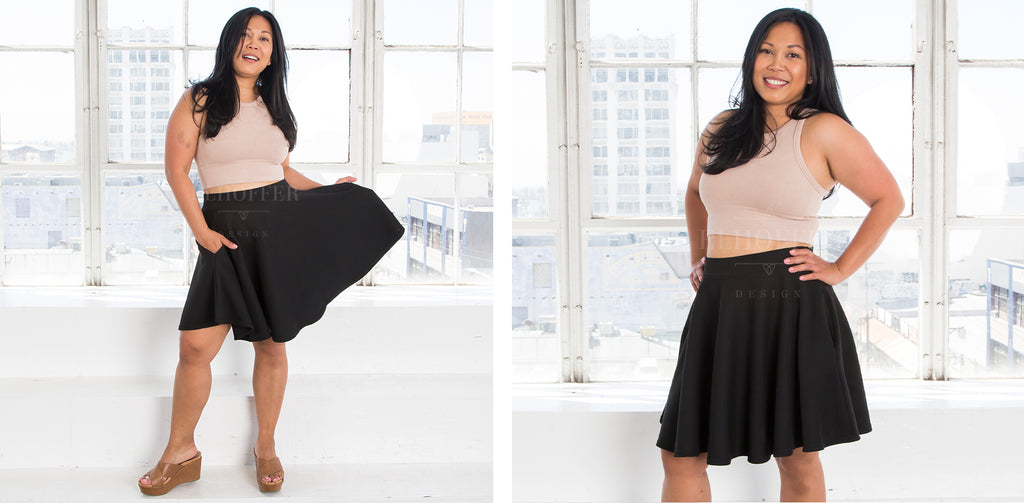 Alyssa (a medium skinned size small model with dark hair) models the black knit knee length skater skirt with pockets and pairs it with a light tan crop.