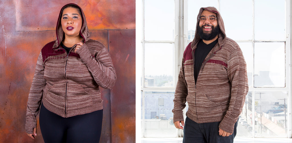 A female model (on the left) and male model (on the right) are wearing the heathered brown and burgundy Galactic Bromance Hoodie.