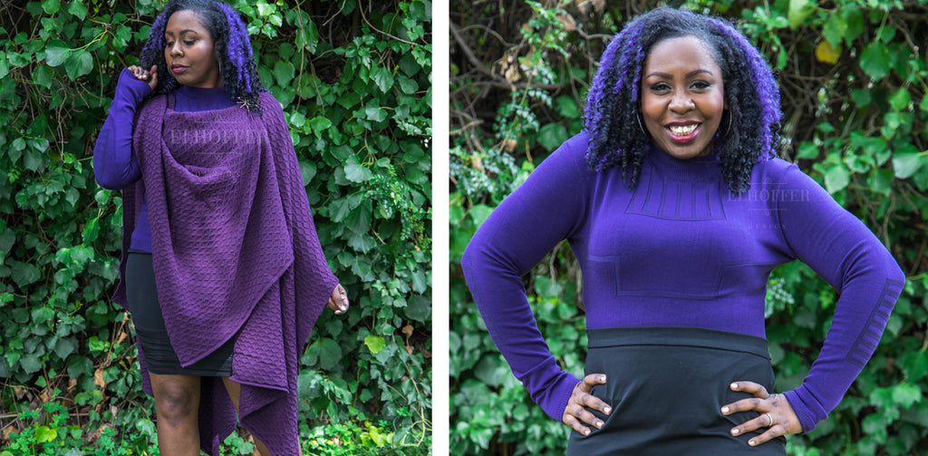 Erika, a dark skinned model with black and purple curly hair, models the Galactic Desert Pullover in Purple and the Galactic Desert Cape in Plum. The photo on the left, she wears the long sleeved purple knit sweater under the plum textured knit cape. In the photo on the right, she wears the purple long sleeved sweater with vertical textured lines in the knit on the upper chest.