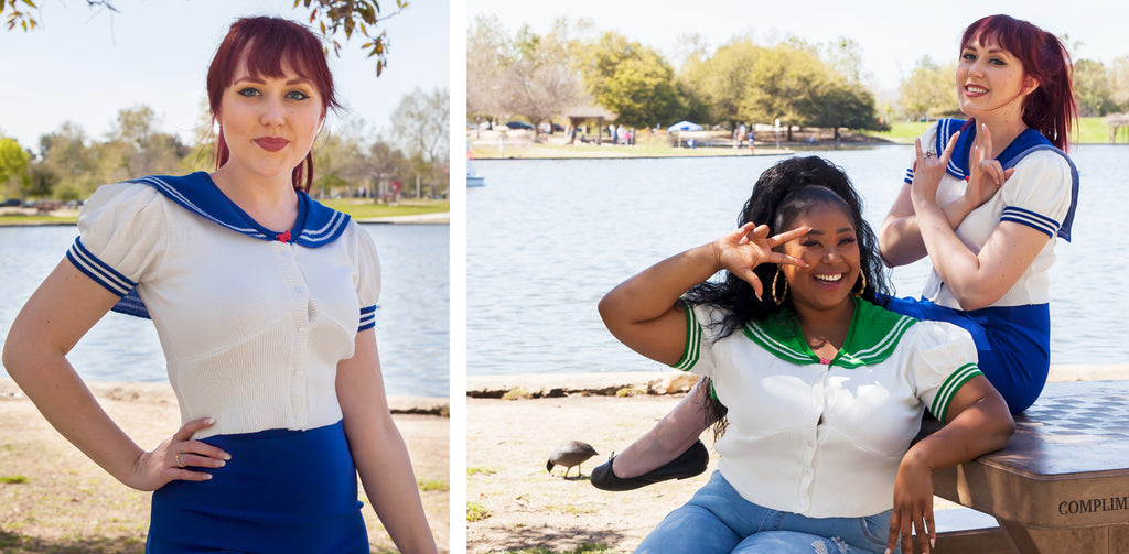 The model on the left wears a Sailor Moon inspired short sleeve cropped cardigan and is standing outdoors in front of water. The models on the right are seated at a table outside, wearing Sailor Moon inspired cropped cardigans.