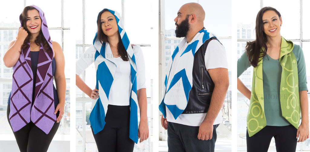 The models wear the light and dark purple Galactic Queen Hooded Scarf (left), white and blue patterned Galactic Snips Hooded Scarf, and light and dark green Galactic Spectre Hooded Scarf.