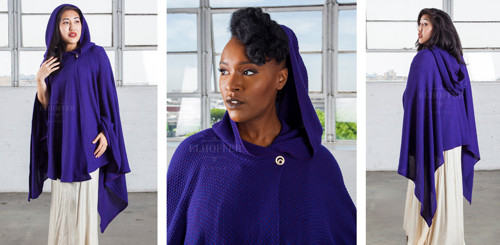 In the left photo, Kate (a medium fair skinned model with dark hair), wears the Galactic Scavenger Cape in Twilight with the hood up. In the middle photo, a a headshot of Lynsi (a dark skinned model with a black mohawk) models the cape with the hood up and shows the circular button fastening at the neck. In the right photo, Kate models the back of the twilight purple blue knit cape, which falls to her upper thighs at the back and below the knee on the sides.