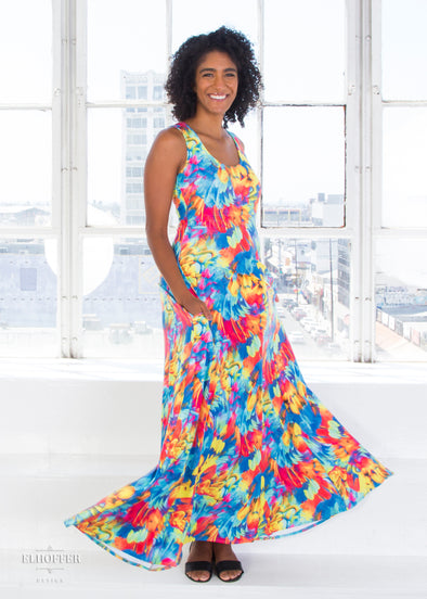 Essential Rainbow Feathers Maxi Dress