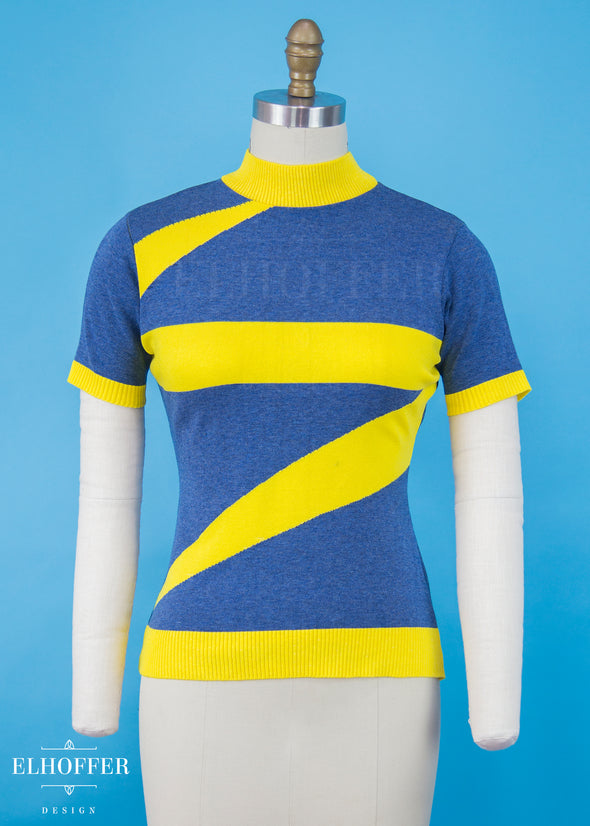 XS / Blue/ Electric Yellow - Marvelous Bolt Sweater