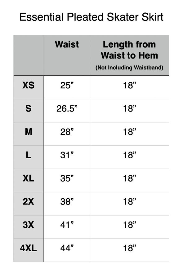 "Unstretched Waist Measurement. XS 25"". S 26.5"". M 28"". L 31"". XL 35"". 2X 38"". 3X 31"". 4X 44""."